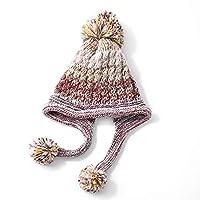 ChengCheng SHPO ハット、ウールキャップ女性の冬の暖かい毛玉甘いキュートな肥厚プラスベルベットイヤーマフニット帽子、フリーサイズ 女性の冬の帽子 (Color : B)