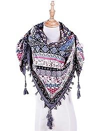 Goenn レディース スカーフ 大判 ストール マフラー 正方形タイプ タッセル付き 花柄 優しい肌触り 結婚式 通勤 通学 旅行 女性