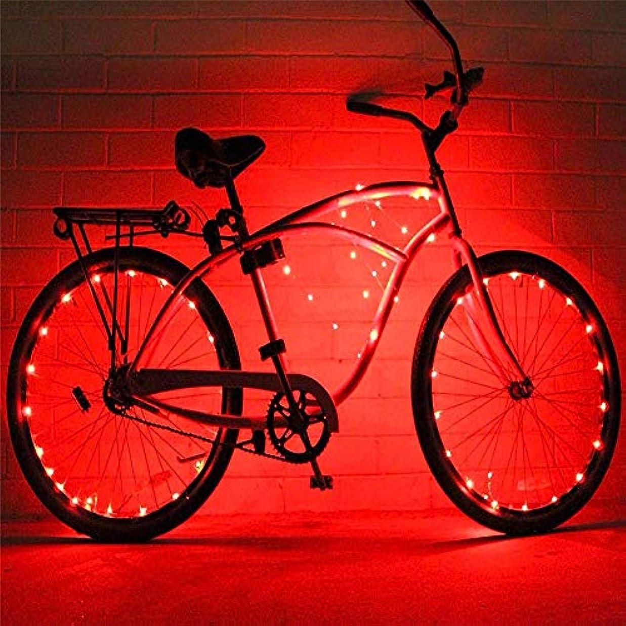 贅沢な写真を撮る展開する充電式自転車ライト 2セットの自転車ホイールライト文字列超明るいLED各種色自転車タイヤアクセサリー自転車リムライト自転車スポークライト超高輝度LED防水ホイールライトバイクライト (色 : 赤, サイズ : 2 pcs)