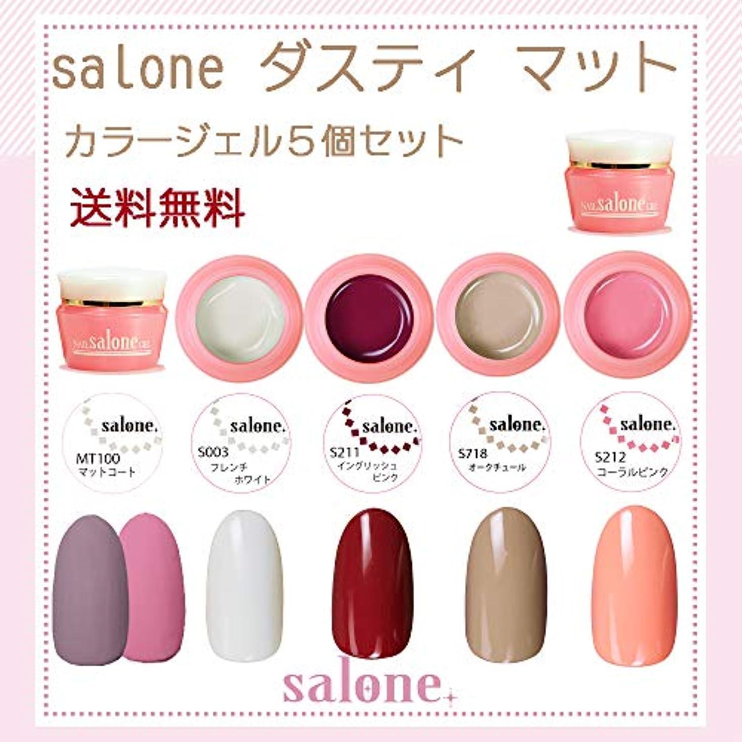 硬化する不健康望ましい【送料無料 日本製】Salone ダスティマット カラージェル5個セット ネイルのマストアイテムのマットトップ