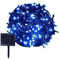 RPGT ソーラーライトストリング 13m 100LED 太陽発電、USB充電式、防水 ガーデンライト クリスマスパーティー、屋外配置、クリスマスツリー、誕生日、ウェディングパーティデコレーション(ブルー)