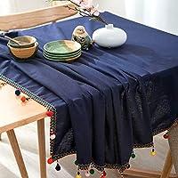 Yan 新しいファッションヨーロッパの民族のスタイルカラフルなボールタッセルコットンのテーブルクロス (色 : Color4)