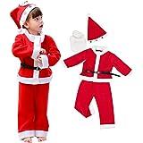 Horara サンタ コスプレ ベビー キッズ クリスマス コスプレ衣装 子供 帽子上下セット(男の子 セット、110cm)