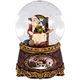 Sleeping Santa with Elf Musicalクリスマス100 mm Snow Globe – Plays Tune We Wish You a Merry Christmas