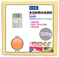 屋外用 多目的用 水性塗料 09-70T サーモンオレンジ 500g/艶あり 内装 外装 壁 屋内 ファインコートシリコン つやあり 多用途