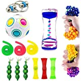 16 Pack Bundle Sensory Toys Set-Bike Chain/Liquid Motion Timer/Rainbow Magic Sensory Ball and Squeeze Toys Value Assortment