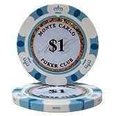 【ノーブランド品】モンテカルロ 13.5g ポーカーチップ 25枚セット ホワイト $1