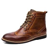 [Fengbao] ブーツ メンズ 革靴 ブロック メダリオン&ウイングチップ ハイカット ファッション ショートブーツ レインブーツ レースアップ 防水 厚底 滑り止め