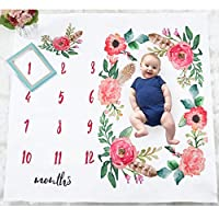 Baoblaze 毛布 ラップ布 新生児の毛布 写真用 綿 花 文字 きれい 洗濯可能