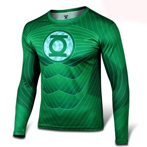 GarmentHolyland アメリカ映画 グリーンランタン(Green Lantern) コスプレ衣装 長袖Tシャツ,3XL