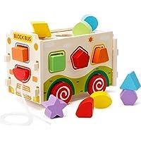 Rabugoo 子供 玩具 木製 組立 図形 マッチ トレイン おもちゃ モンテッソーリ パズル 玩具 ビルディングブロック 教育 玩具 教材