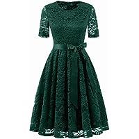 Dresstell(ドレステル) 結婚式ドレス 多彩 レースワンピース ひざ丈 半袖 ベルト付き 裏地あり 通勤 お呼ばれ 二次会ドレス