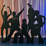 ディスコ スタンダップ 写真ブース 小道具 背景 背景 パーティー 装飾 シーン セッター 段ボール切り抜き