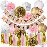 Happy Hour! ピンクとゴールド ベビーシャワーデコレーション 女の子用 - IT'S A GIRL & BABY SHOWER ガーランド バナー ランタン ハニカムボール タッセル パーティー用品