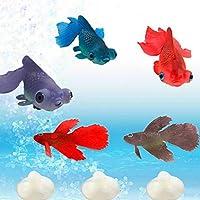 Etopfashion 小さな夜光魚 フロート 金魚&ベタ魚 5匹セット 水質に無害のシリコン製 吸盤 人工浮遊魚 水槽装飾 魚タンク オーナメント 水槽内アクアリウム 色ランダム