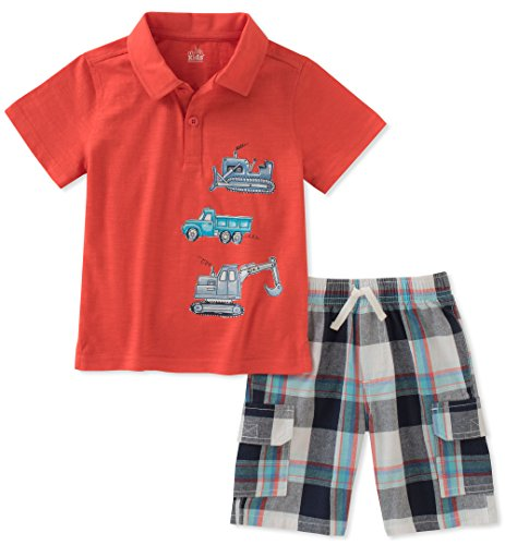 Kids Headquarters Baby Boys 2 Pieces Polo Shorts Set, red, 18M