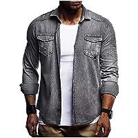 Howme-Men Draped Stretch Washed Plus Size Pocket Denim Jean Jacket