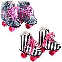 Ebuddy 2 Pairs Rockin' Roller Skates For 18 inch Dolls Including Glitter Roller Skates and Zebra Roller Skates