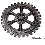 ZHUOTOP CL19 Retro Industrial Gear Wooden Wall Hanging Craft Vintage Art Decoration for Bar Cafe Home Silver-24cm
