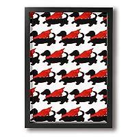 ダックスフント ドイツ原産 犬種 スーパーマン マント フレーム装飾画 絵画 キャンバスアート アートパネル 壁掛け 絵 モダンアート 壁飾り ポスター 壁画 背景 枠付き A4 木製 ファッション