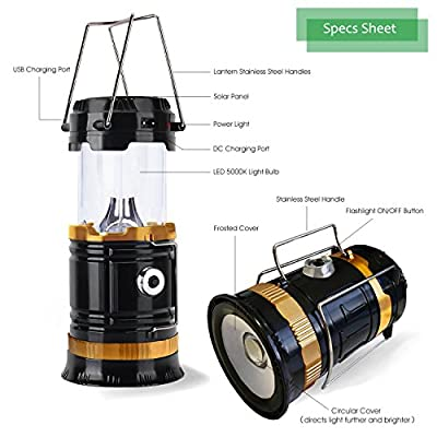 Solar LED Camping Lantern Flashlight by InSassy - Collapsible Lamp with Handle Great for Tent Lighting, Long Hikes, Attic, Garage, Emergencies and Outages - 2 Pack