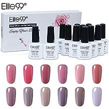 Elite99 Nail Gel Polish Kit 12pcs UV LED Soak off Gel Nail Polish Nude Color Range High Gloss Nail Art Manicure Gift Set