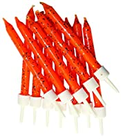 Glitter Candles Orange with Holders