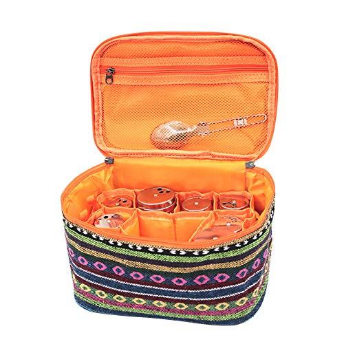 クッキングボックス スパイスボックス 調味料入れ キャンプ アウトドア BBQ 旅行 バーベキュー 多機能 収納バッグ 中仕切 弁当箱 大容量 調理器具入れ (マルチ色)