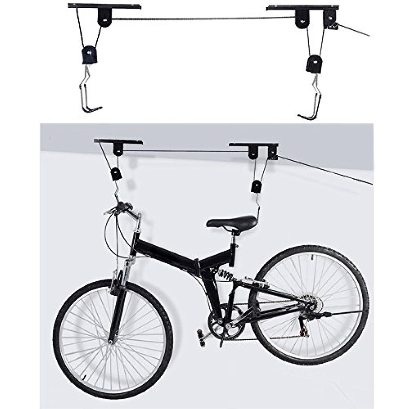 かかわらずゲート全くnacola 45ポンド重量容量天井マウントバイク自転車リフトホイストガレージストレージハンガープーリラックリフトアセンブリフックプーリ
