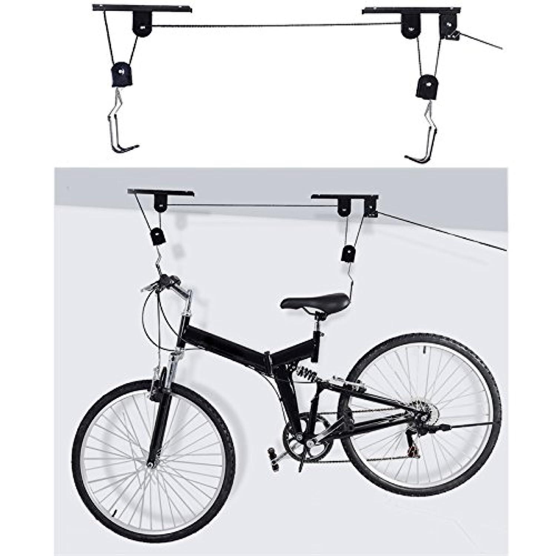 nacola 45ポンド重量容量天井マウントバイク自転車リフトホイストガレージストレージハンガープーリラックリフトアセンブリフックプーリ