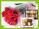 誕生日プレゼント レッド チューリップ と フーシェ クッキー詰合せ ギフトセット 還暦祝い・退職祝い・古希/メッセージカード付き