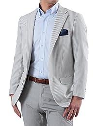 春夏 2ツボタン シアサッカー CoolMax 爽涼 スリムフィット テーラードジャケット メンズ クールビズ 全2色/柄