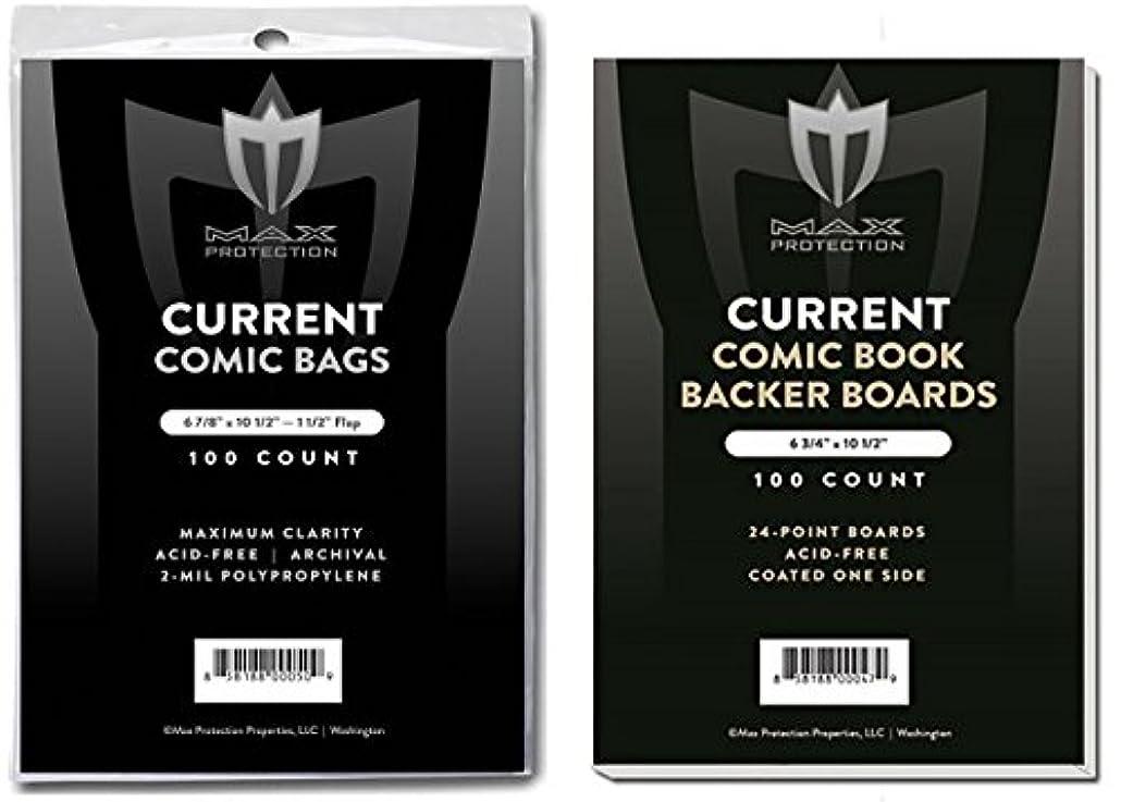 難しい苦味ナサニエル区(500) Current Size Ultra Clear Comic Book Bags and Boards - by Max Pro (Qty= 500 Bags and 500 Boards)