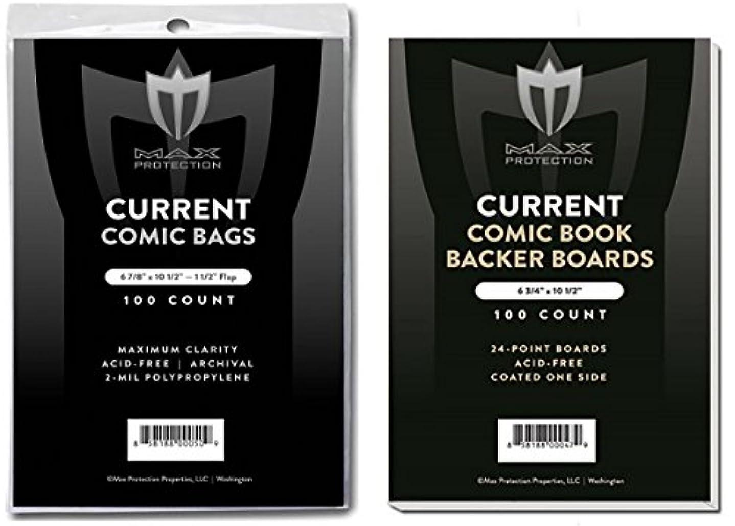 テーブル流行長椅子(500) Current Size Ultra Clear Comic Book Bags and Boards - by Max Pro (Qty= 500 Bags and 500 Boards)