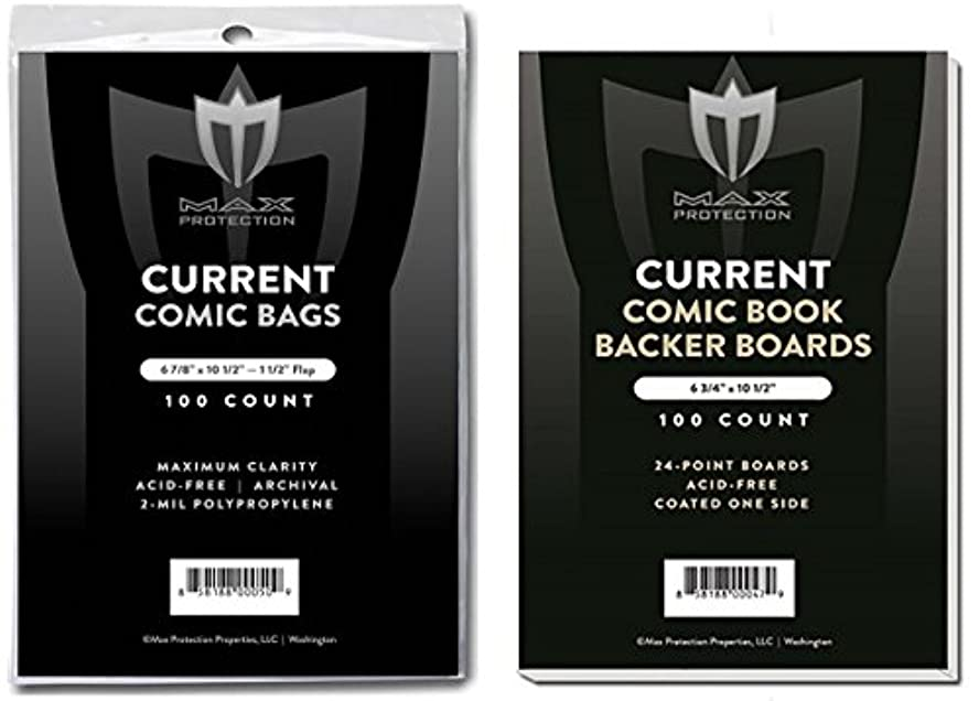 プロフェッショナル取り出すペインティング(500) Current Size Ultra Clear Comic Book Bags and Boards - by Max Pro (Qty= 500 Bags and 500 Boards)