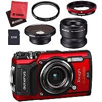 【セット】 OLYMPUS オリンパス コンパクトデジタルカメラ Tough TG-5 レッド&SD32GB&フィルター40.5mm&コンバーターアダプター&テレコンバーターレンズ&フィッシュアイコンバーターレンズ&クロス
