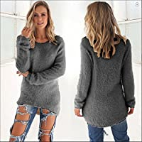 Women's Long Sleeve Sweater Shirt Knitwear Ladies Loose Blouse Jumper Tops Dress #2 Dark Grey - Low High Sweate. XL = AU 14-16