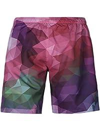 スイミングトランク クールな夏のズボン  男性 カラーグリッド  3D印刷 (サイズ : S)