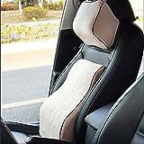 (ファーストクラス)FirstClass 車用 腰痛対策 シートクッション&ヘッドレスト メモリーフォーム製 人間工学設計 バックサポート ネックサポート 通気性に富む オフィス 旅行 ホーム 車シート 椅子 自動車用 フォーシーズン ベージュ 2pc