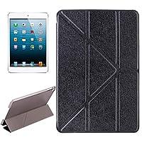 IPad Mini 5用ケース, iPad Mini 2019用ホルダー付きトランスフォーマースタイルシルクテクスチャー水平フリップソリッドカラーレザーケース (色 : Black)
