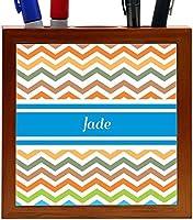 Rikki Knight Jade Blue Chevron Name Design 5-Inch Wooden Tile Pen Holder (RK-PH4839) [並行輸入品]