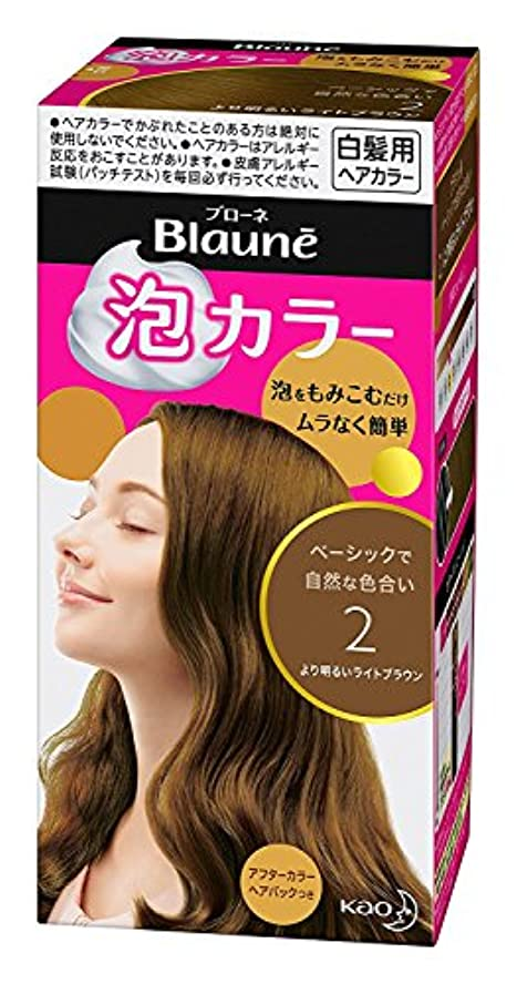 浴室エール二十【花王】ブローネ泡カラー 2 より明るいライトブラウン 108ml ×5個セット