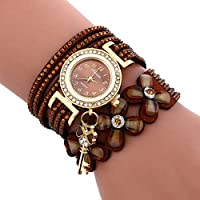 G-rf Round Dial Diamond Flower Bracelet Watch with Flower Shape Key Pendant (Black) (Color : Brown)