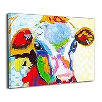 牛 絵画 油絵 抽象画 インテリア キャンバス 壁掛け 手描き油彩モダンアートパネル ポスター 壁掛け 30*40cm