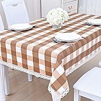 コットン リネン スクエア テーブル クロス レース付き,厚い汚れに強い テーブル プロテクター な テーブルカバー キッチンデコレーション-n 90x140cm(35x55inch)