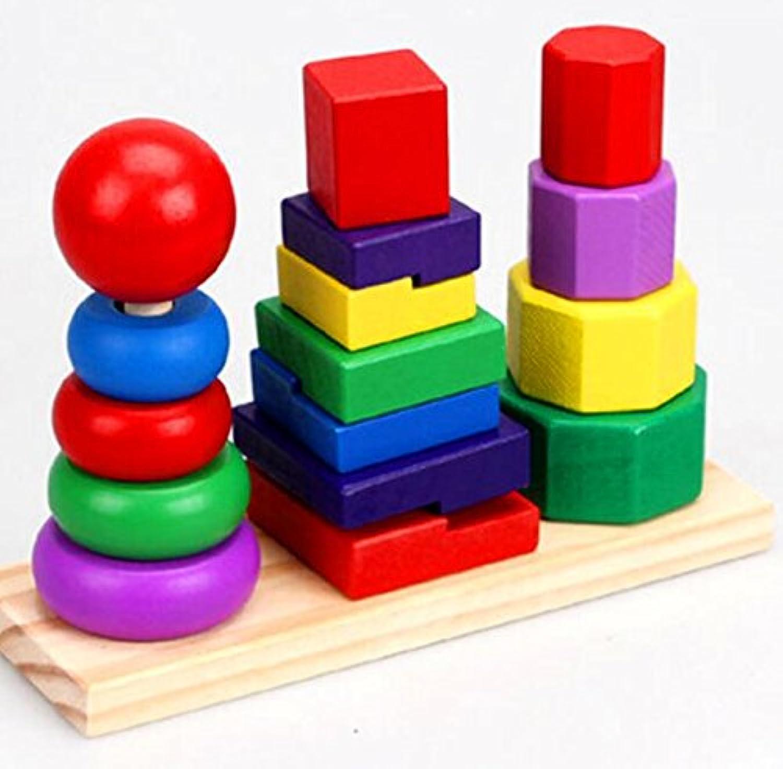 HuaQingPiJu-JP カラフルな木製ビルディングブロックコラムベビージオメトリ認知マッチングおもちゃクリエイティブギフト