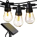 Brightech Ambience Pro - Waterproof LED Outdoor Solar String Lights - 1W Vintage Edison Bulbs - 48 Ft Heavy Duty Patio Lights