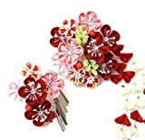 髪飾り 2点セット かんざし つまみ細工 花 (成人式 卒業式 結婚式 和装)(赤 ピンク) wk-226