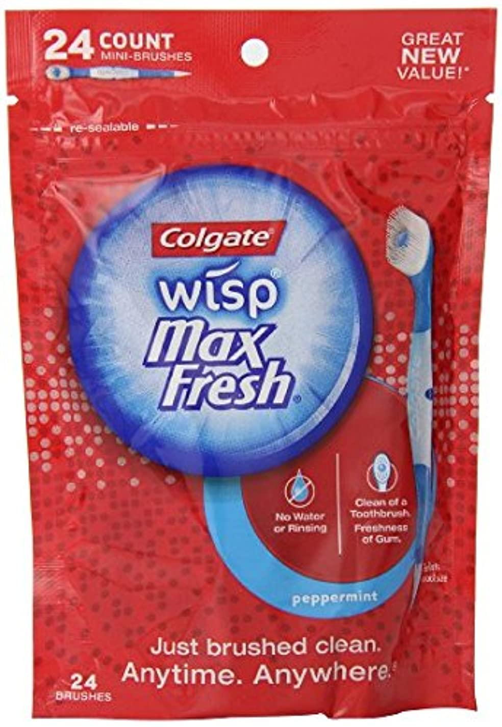 スラッシュ過度にボウリングコルゲート社 水のいらない使い捨て歯ブラシ ウィスプ ペパーミント味 24本海外直送品 [並行輸入品]