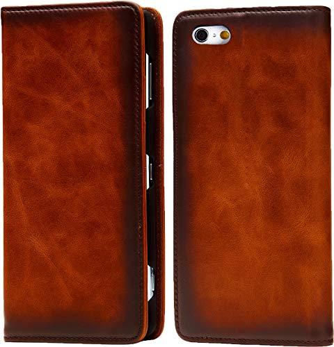 Esperanza 最高級 本革 iPhone6 iPhone6s スマホ ケース 古代ローマ帝国の伝統技法 スフマート製法  硬度 9H 強化 ガラスフィルム セット  アイフォン6 ケース 手帳型 マグネット式 カード ポケット スタンド 機能 付 (iPhone6, ブリックブラウン)